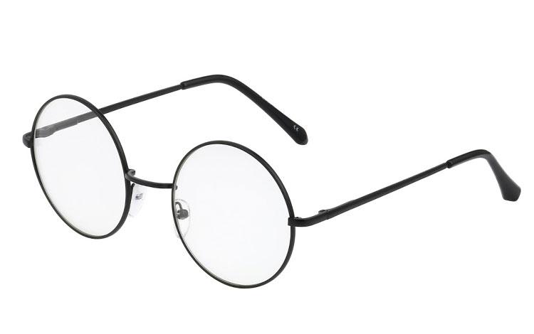 428ecd7794cf S3395 Sort rund brille med klart glas uden styrke