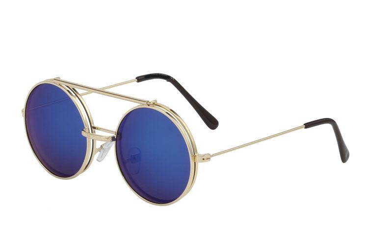 S3453 Guldfarvet rund metal brille med flip up solbrille i