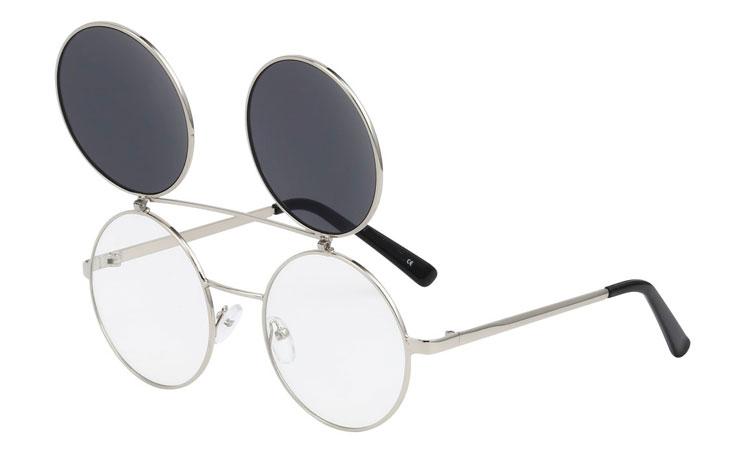 S3465 Stor rund brille i sølvfarvet stel med klart glas uden