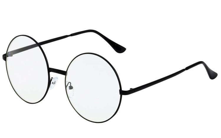 6e0ff87c0 STOR rund brille med klart glas uden styrke i stor stel. - Design nr ...
