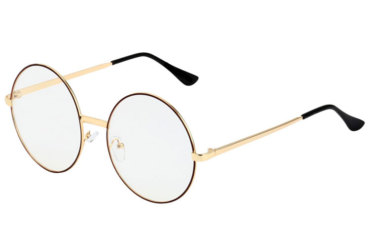3f571e5be Norges billigste solbriller - STOR rund brille med klart glas uden ...