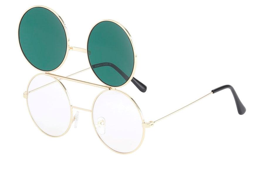 Guldfarvet brille med flip up solbrille