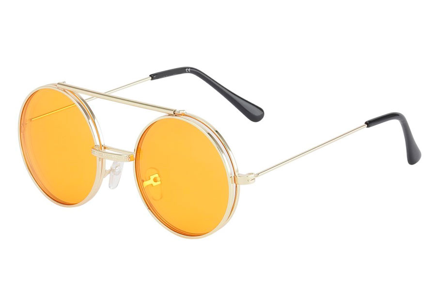 Brille i guldfarvet metal stel med flip-up solbrille med orange glas.  | flip-up-solbriller