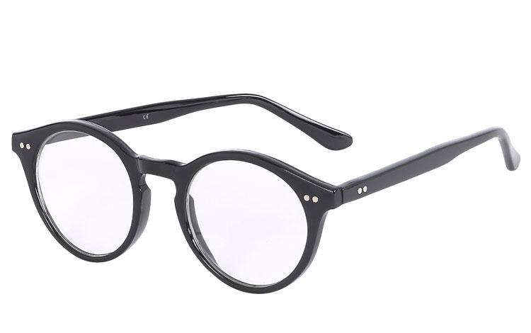 1c0f29021444 Sort brille uden styrke i rundt og enkelt design - Design nr. 3591