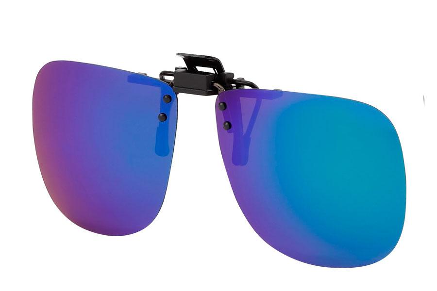 070930461d28 Skærmbrille i blankt sort wayfarer design 170 NOK. Polaroid clip-on  solbriller i grøn-blå spejlglas - Design nr. s3765