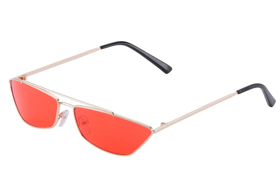 Lækker smal cat eye solbrille metalstel med røde glas - Design nr. s3867 bbd4bdae9bc9b